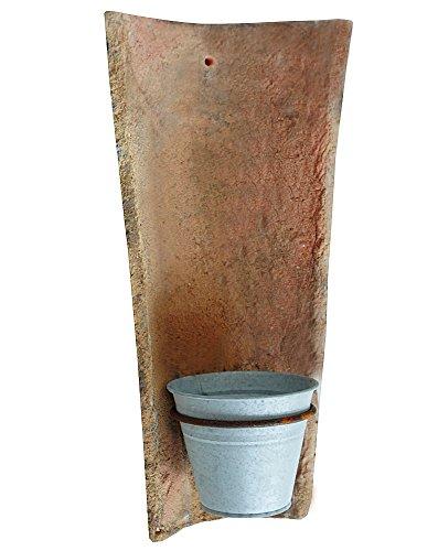zeitzone Echt Antiker Dachziegel mit Blumentopf aus Zink Wandtopfhalter Landhausstil