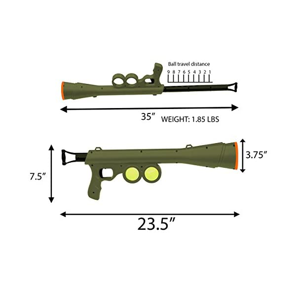 OxGord BazooK-9 Tennis Ball Launcher Gun - Rated Best Dog Toy - Includes 2 Squeaky Ball Toys for Pet Bazooka Semi Automatic Blast 3