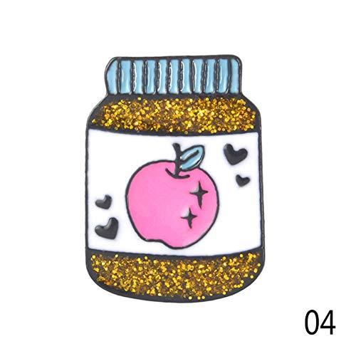 HFKDJ Brosche Winzige Marmelade Brosche Glänzende Obst Erdnuss Pin Kreative Metall Kann Brosche Mode Tuch Hut Tasche Zubehör Geschenk Für Männer Frauen Kinder, Apple Können (Herr Erdnuss Kostüm Frauen)