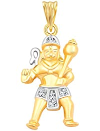 Vighnaharta Lord Maruti CZ Gold And Rhodium Plated Alloy Pendant For Men And Boys - [VFJ1093PG]