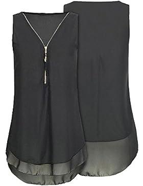 Damark(TM) Ropa Camiseta sin Mangas Tank Tops para Mujeres, Verano Sexy Deporte Gasa con Cuello en V Cremallera...