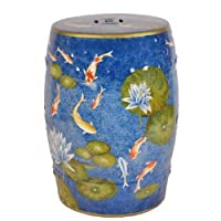 DOWNTON INTERIORS Large Oriental Ceramic Stool Side Plant Table (M19849S) - Chinese Mandarin Style Living Rooms & Bedrooms
