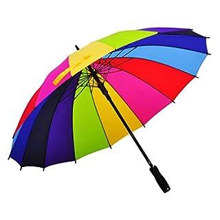 Amberzcy Regenbogen Regenschirm, Langer Griff Creative 16 Stahlverstärkter Regenschirm Schutz UDF> 40+