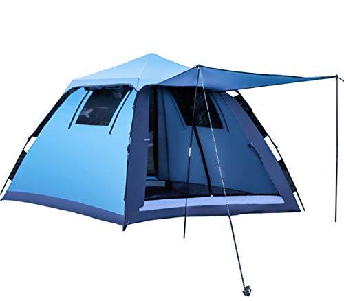 Tenda da campeggio, impermeabile automatica pop-up tenda a cupola doppio strato per 3-4 persone (blu)