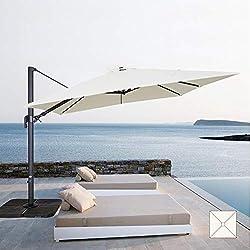 FP-TECH Parasol de Jardin décentré 3 x 3 orientable pivotant à 360 °, Poteau en Aluminium Struttura Antracite e Telo Bianco