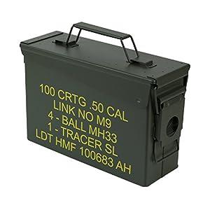 HMF 70010 Caja de Munición, US Ammo Box, Caja de Metal, 27,5 x 17,5 x 9,5 cm, Verde