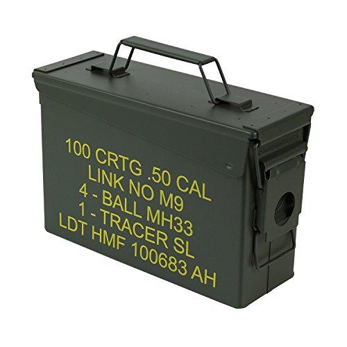 HMF 70010 Cassa per Le Munizioni in Stile Militare USA, Secchio Porta Munizioni, Scatola di Metallo, 27,5 x 17,5 x 9,5 cm, Verde
