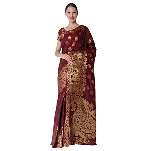 Makeway Dark Maroon Jaquard Banarsi Art Silk Saree (346-A)