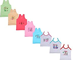 IndiWeaves Girls Pure Cotton Cartoon Print Slips/Vests (Pack of 8)_Multiple_12-14 Years