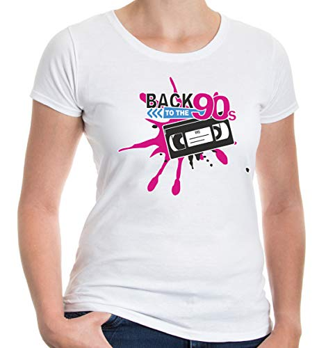 buXsbaum Damen Girlie T-Shirt Back to 90s | 90er Oldschool Party | L, Weiß