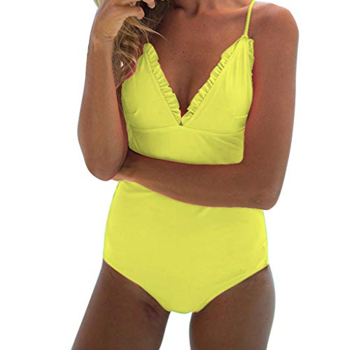 Bademode Damen,Off Shoulder Camisole Swimwear Rüschen Figurformender Badeanzüge V-Ausschnitt Slim Fit Monokini Sexy Rückenfrei Einteilige Bikini Schulterfrei Tankini Badeanzug Bügel Resplend