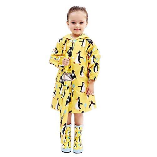 mama stadt Gelber Regenmantel Kinder Regenponcho Regencape Niedliches Pinguin Drucken Wasserdicht für Jungen Mädchen 75-130CM