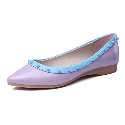 AgooLar Damen Spitz Zehe Ziehen Auf Lackleder Gemischte Farbe Ohne Absatz Flache Schuhe Lila