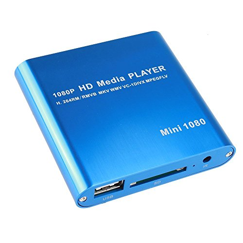 HD Media Player, AGPtek Mini 1080p Full-HD Ultra HDMI Digital Media Player for -MKV/RM- HDD USB Drives and SD Cards (Blue)