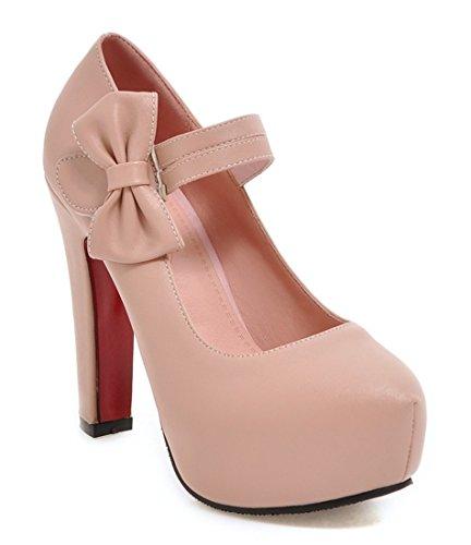 Com Festa Sapatos De Calcanhar 12cm Salto Senhoras Mary Bloco Rosa Ye Doce E Plateau O Tornozelo Elegante Alto Laço Cinta Jane Bombas UpqPgRwC