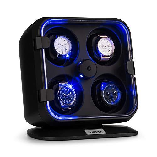 Klarstein Clover Estuche Relojes - 4 Relojes - 3 Modos de rotación - 4  Velocidades - Iluminación LED - Almohadilla Desmontable - Puerta Delantera