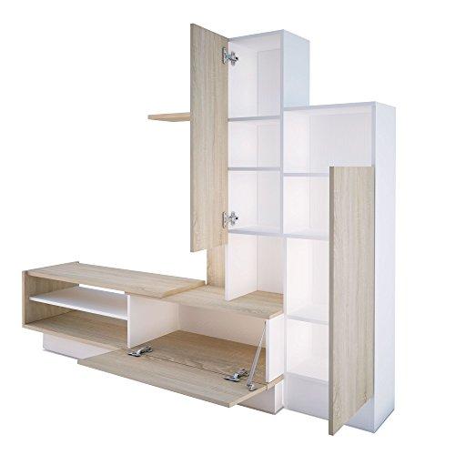 Trasman 8088 Wohnwand, melaminharzbeschichtete Holzspanplatte, eiche und weiß, 200 x 40 x 163 cm - 2