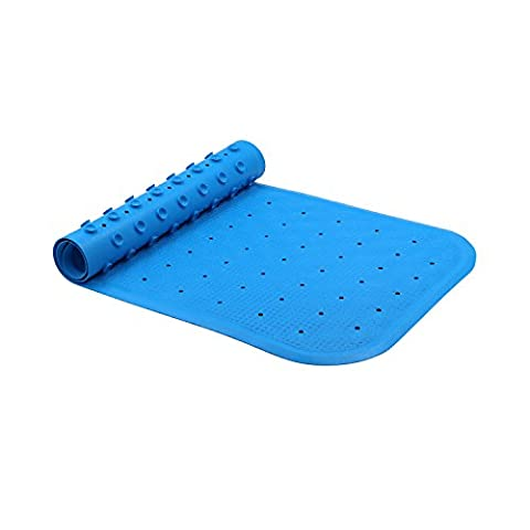 iTrunk Non-Slip Natural Rubber Bath Mat with High Grip Suction Cups 76 x 34 cm Blue