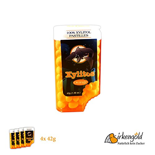 Birkengold Xylitos Bonbons Orange, 4er Pack (4 x 42 g)
