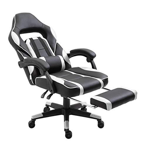ALTERDJ Gaming Stuhl Computerstuhl Racing Gaming Chair Bürostuhl Schreibtischstühle 2 Kissen mit Gepolsterte Fußstütze, Kunstleder, Höhenverstellbar 79 x 70 x 110-119 cm, kippbar 180°, Weiß
