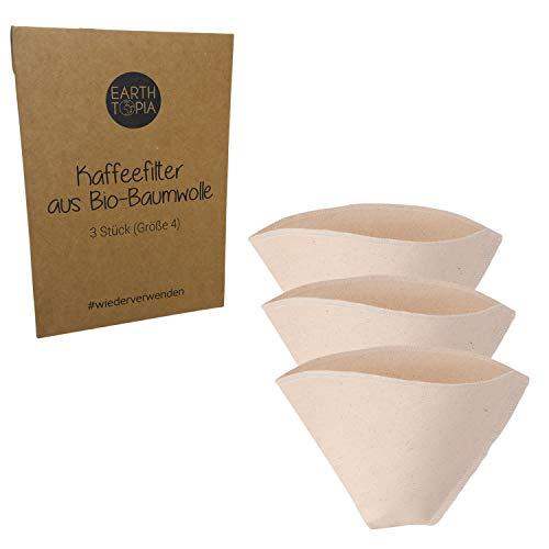 Earthtopia 3er Set Wiederverwendbare Kaffeefilter aus Stoff | 100% Bio-Baumwolle | Filtertüten für Kaffeemaschine und Handfilter | Permanentfilter Mehrwegfilter Dauerfilter (Größe 4)