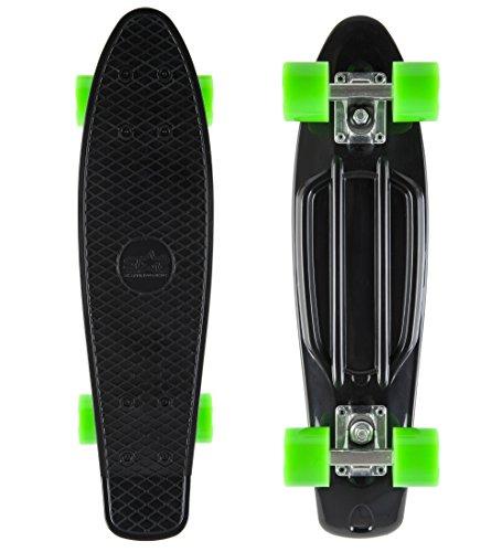 BIKESTAR Original Vintage Retro Cruiser Skateboard für Kinder und Erwachsene auch Anfänger ab ca. 6 - 8 Jahre | 60mm Kinderskateboard Retroboard | Teuflisch Schwarz & Gecko Grün
