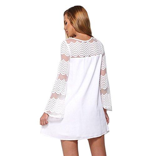 KingField - Robe - Moulante - Manches Longues - Femme Medium Blanc - Blanc
