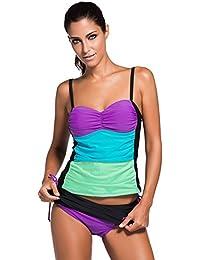 2530d132f805 Wowforu Women Ombre Bandeau Colorblock Strappy Tankini Skort Set Padded  Swimwear