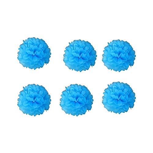 (Miji 10 Stück 8-Zoll-Seidenpapier Pompoms hängendes Papier Poms Blumen-Poms Ball Hochzeit Dekorationen Blau)