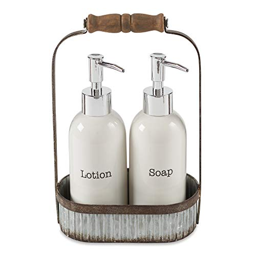 Mud Pie Farmhouse Inspired Lotion Caddy Soap Pump Set, White -