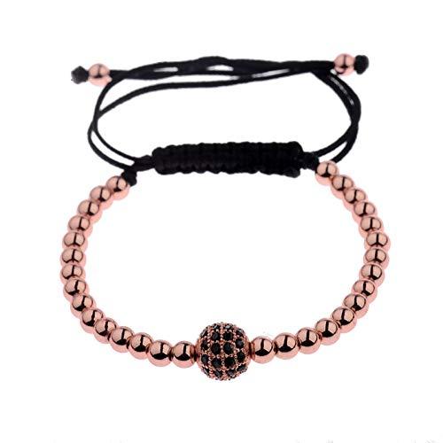 Imagen de ygsvt pulsera encanto trenzado hombres cz zircon pave pulseras de bolas de cobre redondas cuentas de 4 mm pulseras de oro macramé regalo de fiesta