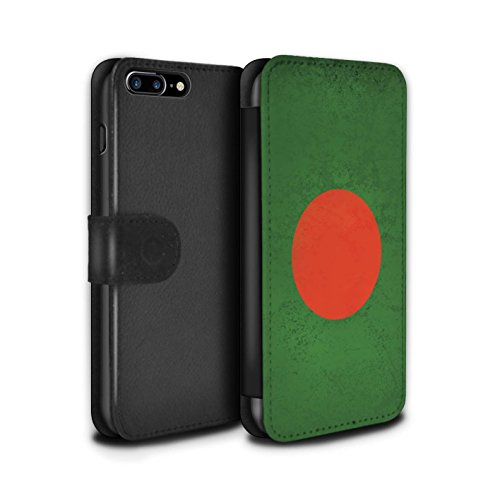 STUFF4 PU-Leder Hülle/Case/Tasche/Cover für Apple iPhone 8 / Georgien/Georgisch Muster / Asien Flagge Kollektion Bangladesch