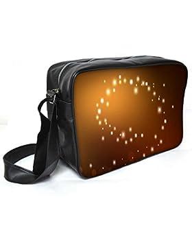 Snoogg Golden Sparkling Leder Unisex Messenger Bag für College Schule täglichen Gebrauch Tasche Material PU