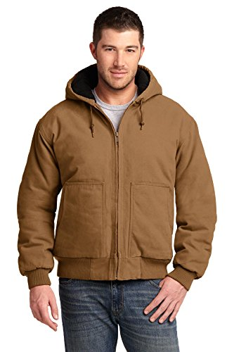 CornerStone® Washed Duck Cloth Insulated Hooded Work Jacket. CSJ41 Duck Brown (Brown Hooded Jacket Duck)