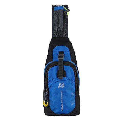 Rucksack Umhängetasche Brusttasche Messenger Bag Schultertasche Hiking Bag Daypack Crossbody Bag Chest Pack Sports Reisetasche Wasserdicht Polyester Blau Schwarz (Designer Modeschmuck Sale)