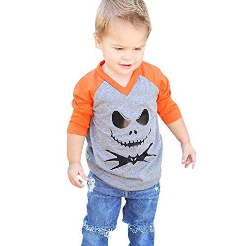 Kinder Langarm Halloween Cartoon Devil Print T-Shirt Oben Kleinkind Baby Mädchen Top Halloween Bluse
