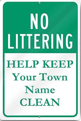 no-littering-mantenere-pulita-custom-town-metal-sign-12-larghezza-x-altezza-18-pollici-heavy-gauge-a