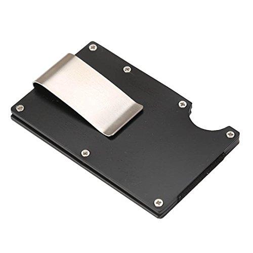 Kreativ Schlank Metall Brieftasche HARRYSTORE Kredit Karte Halter Leicht Aluminium Geld Clip Brieftasche Mit Blockierung (Schwarz #1)