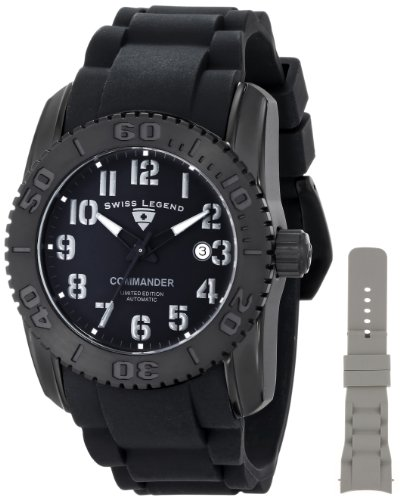 Swiss Legend Men's 11876A-TIB-01GRYA-W Commander Analog Display Swiss Automatic Black Watch