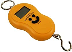 DFS Original 50KG DIGITAL LCD WEIGHT WEIGHING SCALE + FREE BATTERIES - Pocket Portable Hanging Luggage Scale (Yellow)