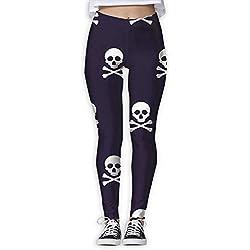 Jack16 Pantalones de Calavera para Yoga, Entrenamiento, Capris, Leggins para Mujeres y niñas, Mujer, Medium