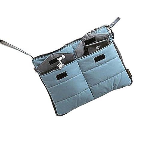 Travel Organizer Pouch Sac pour tablette ou ordinateur avec compartiments multiples - pour le sac dans le sac, les articles de toilette, le maquillage, les comprimés etc. (Bleu)
