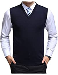 3fb6ed98c8777 Yingqible Classic Mens Gilet V-Neck Sleeveless Jumper Vest Knitwear  Cardigans Knitted Waistcoat Sweater Tank