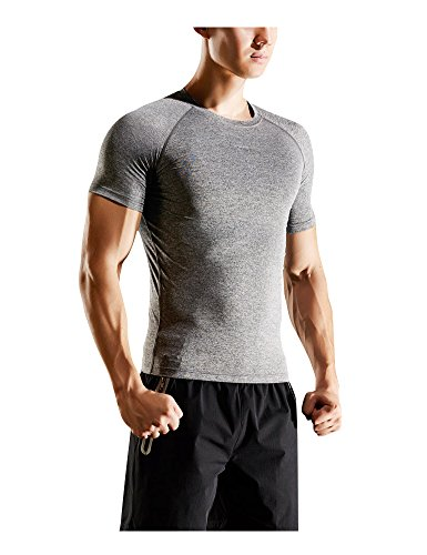 Minyuocom uomo asciugatura rapida manica corta a strisce maglietta mzs5018d-m