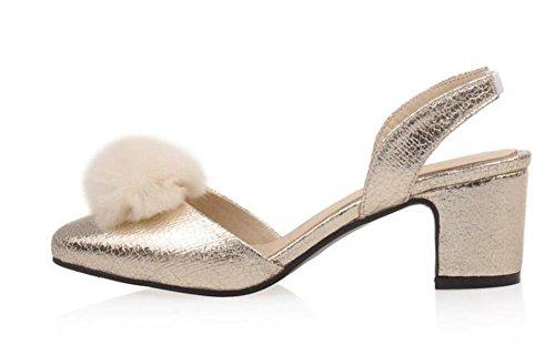 Beauqueen Pumps Mary Janes Büros Sandalen Frauenarbeit beiläufige Chunky Heel Ankle Straps Sandalen Customized Europa-Größe 33-43 Gold