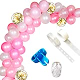 Palloncino Ghirlanda Kit Palloncino Arco Ghirlanda, Palloncino Rosa e Bianco Arco Ghirlanda Kit (Totale 114 Pezzi) per Il Compleanno di Rosa e Bianco Compleanno Baby Shower Decorazioni per Matrimoni