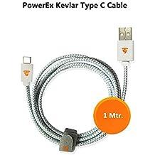 Tech Sense Lab Kevlar 1 Meter/40-inch Type C to USB2.0 Elegant Tangle-Less Nylon Braided Cable (Silver Grey)