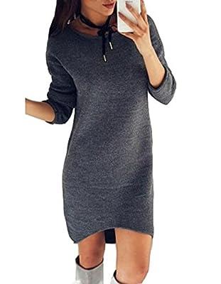 ASSKDAN Damen Casuel Pullover Kleider Langarm Rundhals Unregelmäßig Minikleid Sweatshirt Tops