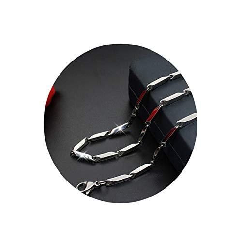 Bishilin Edelstahl Männer Halskette Stangenkette 1.5 MM Kette Silber Punk für Freunde 50 cm