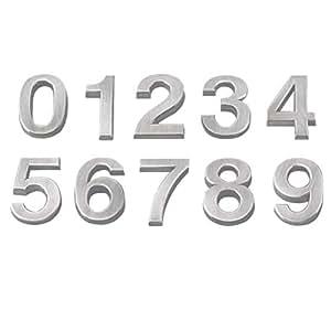 1 autocollant pour num/éro de maison r/ésistant aux intemp/éries 5 cm 3D 0-9 num/éro de bo/îte aux lettres maison DIY num/éro de d/émarrage argent